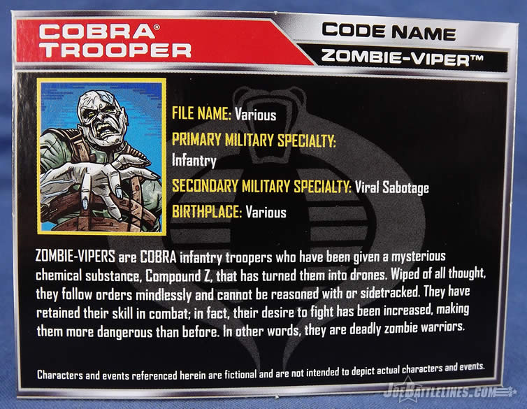 G.I. Joe Zombie Patrol Zombie Viper two-pack file card
