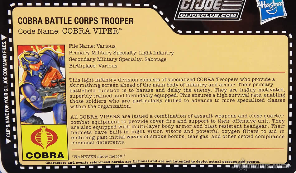 G.I. Joe FSS 5 Battle Corps Cobra Viper filecard