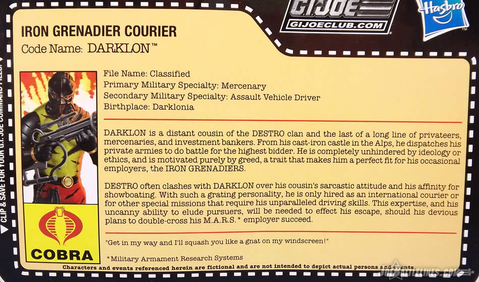 G.I. Joe FSS 5 Darklon file card