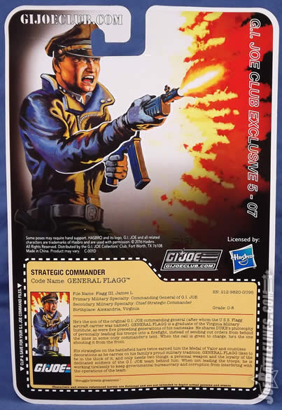 G.I. Joe FSS 5 General Flagg card back
