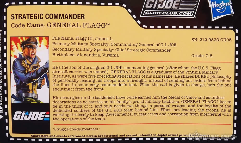 G.I. Joe FSS 5 General Flagg File card