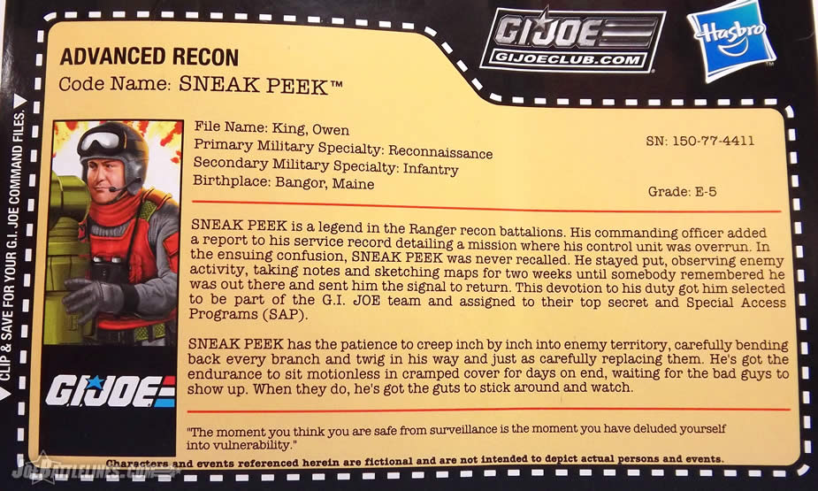 G.I. Joe FSS 5 Sneak Peek file card